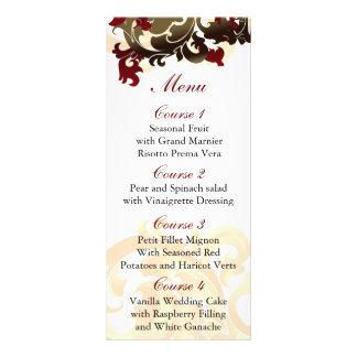 red gold Wedding menu Customized Rack Card