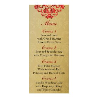 red  gold Wedding menu Rack Card