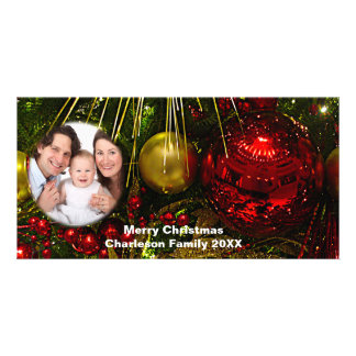 Red & Gold Xmas Ornaments Add Picture Photo Card