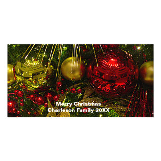 Red & Gold Xmas Ornaments on Tree Photo Card