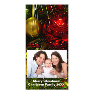 Red & Gold Xmas Ornaments Tree Vertical Photo Card