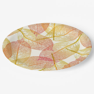 Red Gold Yellow Leaves Autumn Season Pattern 9 Inch Paper Plate