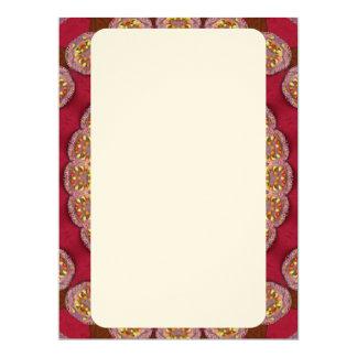 "Red Gold Yellow rosettes Mandala 6.5"" X 8.75"" Invitation Card"
