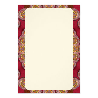 "Red Gold Yellow rosettes Mandala 3.5"" X 5"" Invitation Card"