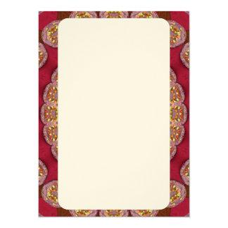 "Red Gold Yellow rosettes Mandala 5.5"" X 7.5"" Invitation Card"