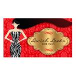 Red Gold Zebra Damask Hair Stylist Salon Business Cards