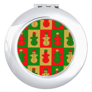 Red, golden and green snowman compact mirror