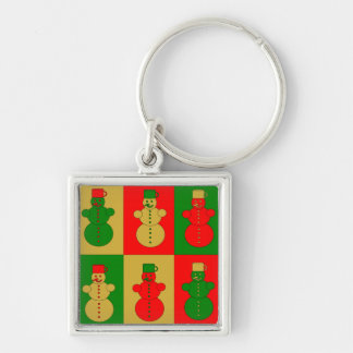Red, golden and green snowmen keychain