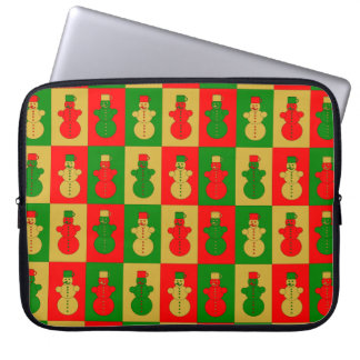 Red, golden and green snowmen laptop sleeve