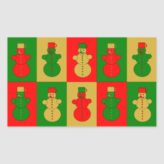 Red, golden and green snowmen rectangular sticker