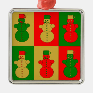 Red, golden and green snowmen Silver-Colored square decoration