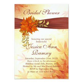 Red & golden Autumnal leaves Bridal Shower Invite