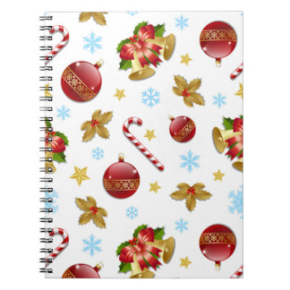 Red & Golden Christmas balls, Christmas holly Notebook