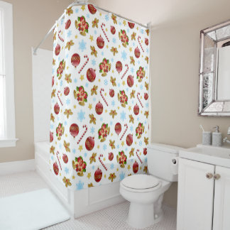 Red & Golden Christmas balls, Christmas holly Shower Curtain