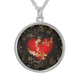 Red Golden Flower Heart! Sterling Silver Necklace