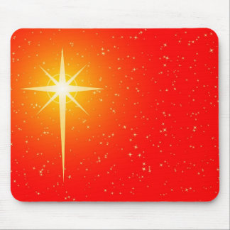 red golden xmas cross star mousepad