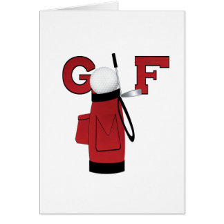 Red Golf Bag Golf T-shirts and Gifts Note Card