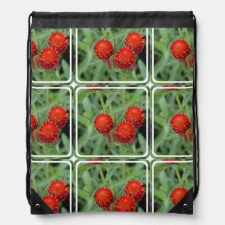 Red Gomphrena Flowers Rucksack