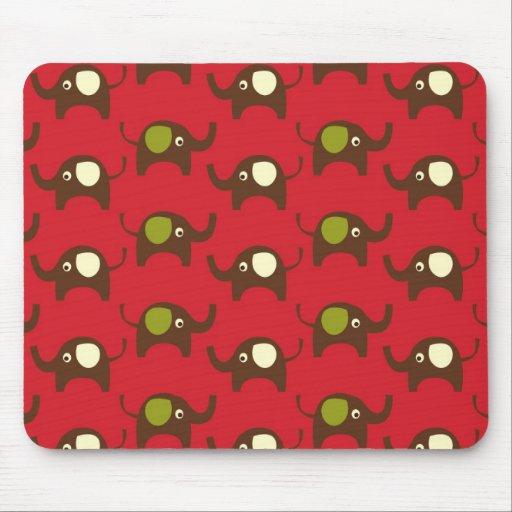 Red good luck elephants pattern print