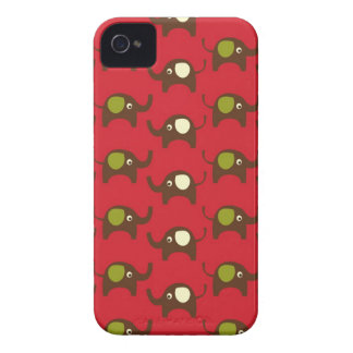 Red good luck elephants pattern print kawaii iPhone 4 covers