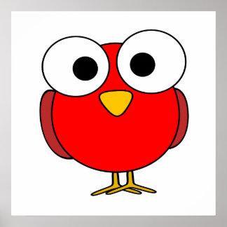 Red Googly Eye Bird Posters