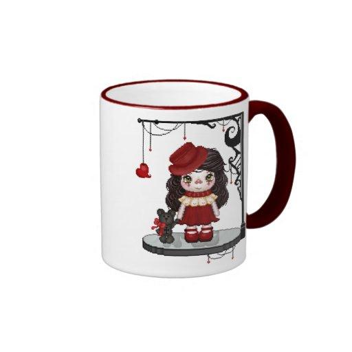 Red Goth Girl Ringer Mug