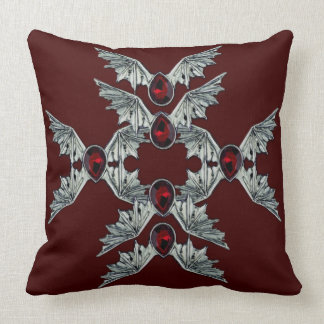Red Gothic Blood Stone Bat Wings Throw Pillow