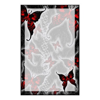 Red Gothic Butterflies Customized Stationery