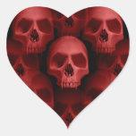Red gothic fanged skull Halloween horror Heart Sticker