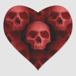 Red gothic fanged skull Halloween horror Heart Stickers