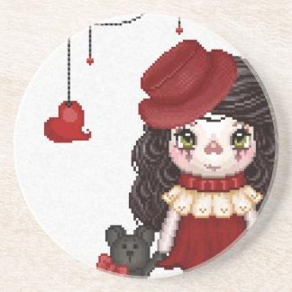 Red Gothic Love Doll Pixel Art Sandstone Coaster