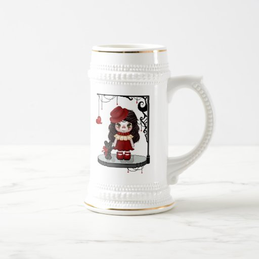 Red Gothic Love Doll Pixel Art Coffee Mugs