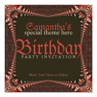 Red Gothic Special Theme Birthday Party Invitation