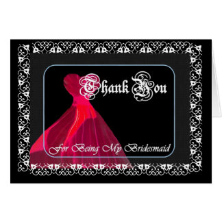 RED Gown & Lace - THANK YOU Bridesmaid Card