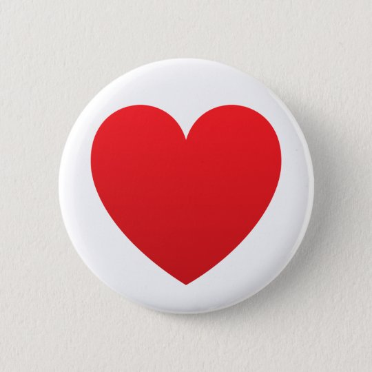 Red gradient heart love or Valentines pin button