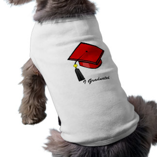 Red Graduation Cap Sleeveless Dog Shirt