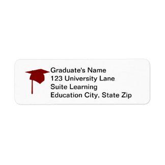 Red Graduation Cap, Tassel Return Address Labels