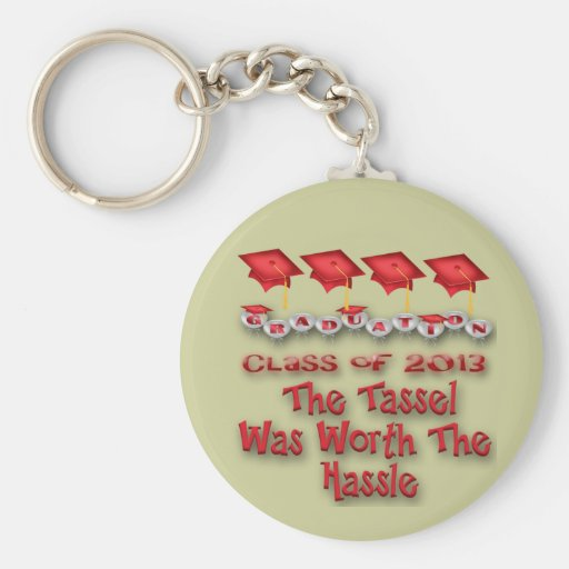 Red Graduation Caps Key Chains