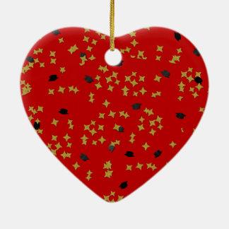 Red Graduation Confetti Heart Ornament