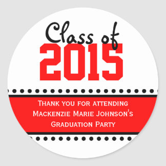 Red Graduation Year Favor Label Stickers
