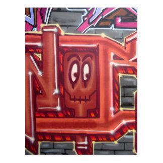 Red graffiti face postcard