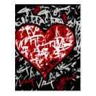 Red graffiti hart postcard