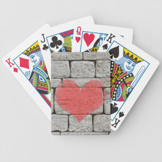 Red Graffiti Heart on Stone Wall Bicycle Playing Cards