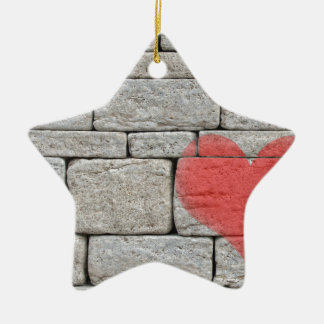 Red Graffiti Heart on Stone Wall Ceramic Star Decoration