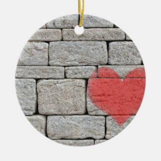 Red Graffiti Heart on Stone Wall Christmas Ornament