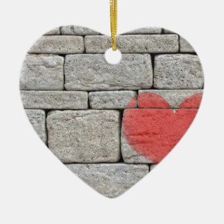 Red Graffiti Heart on Stone Wall Christmas Ornament