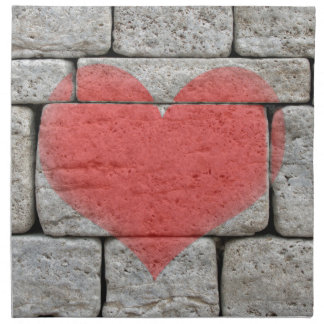Red Graffiti Heart on Stone Wall Napkin