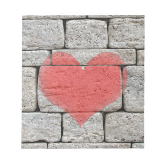 Red Graffiti Heart on Stone Wall Notepads