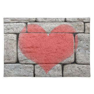 Red Graffiti Heart on Stone Wall Placemat
