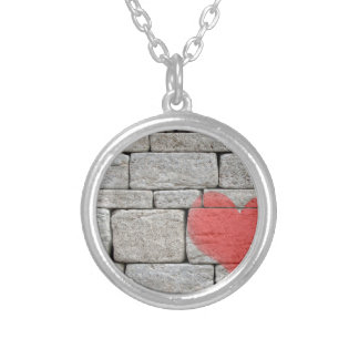 Red Graffiti Heart on Stone Wall Silver Plated Necklace
